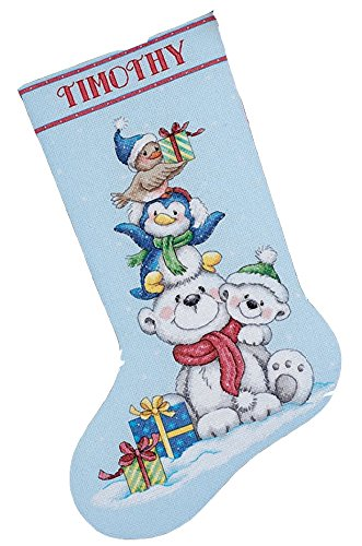 Dimensions Counted Cross Stitch 'Stack of Critters' Personalized Christmas Stocking Kit, 16'