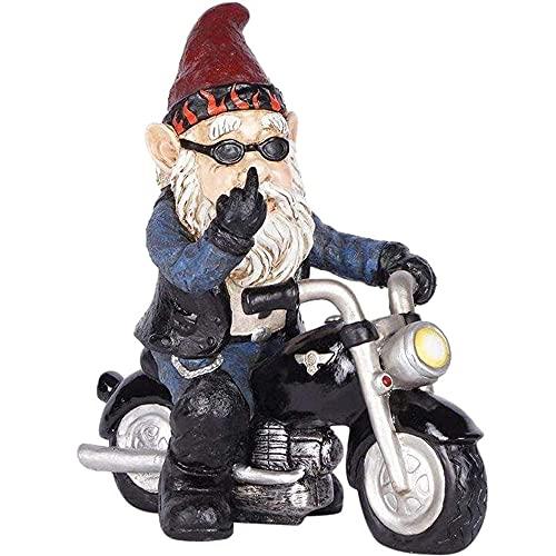 Gartenzwerg Motorrad Zwerge, 13.3cm x 13cm Gartenzwerg Statue, Wasserdicht Sonnenschutz Gartendeko Zwerg für den Garten, Dekoration für die Terasse, Deko für den Balkon