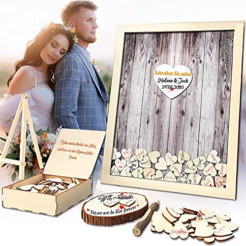 Neamon - Libro degli ospiti per matrimonio, in legno, per feste di compleanno, 120 cuori