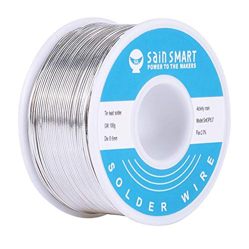 SainSmart 0.6mm Solder Wire 63/37 Tin/Lead Sn63Pb37 with Flux Rosin Core for Electrical Soldering (100g /0.22lbs)