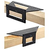 OwnMy Set of 2 Saddle Layout Square Gauge for Woodworking, 45/45 Degree - 90/45 Degree Square Layout Miter Angle Measuring T Ruler, Aluminum Alloy 3D Miter Scriber Template Tool for Carpenter (Black)