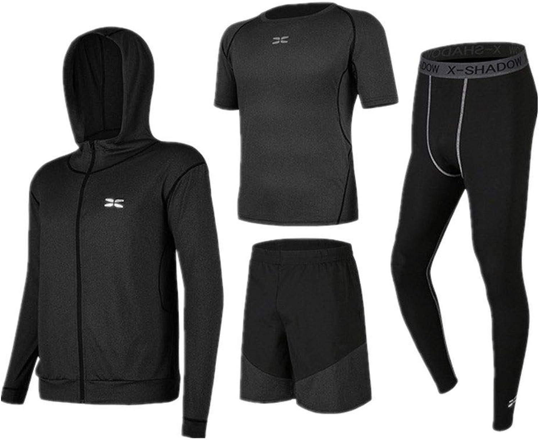 Men's Fitness Suit Clothing Set 4 Pcs Men Quick Dry Compression Sports Set with Outwear,Compression Tight Pants,Short Sleeve TShirt,Shorts Men's Sportswear Clothing Set,Loose Sportswear Clo