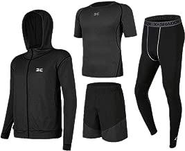 Trainingskleidung für Herren Kurzarm T-Shirt Shorts 4 Stücke Männer Quick Dry Compression Sports Set mit Outwear Kompression Enge Hosen für Radfahren Laufen Gym Fitness