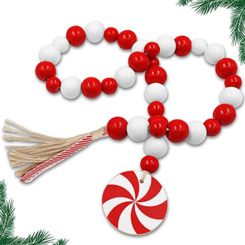 Huray Rayho Christmas Candy Cane Wood Bead Garland Farmhouse Rustic Beads with Jute Tassles Red and White Peppermint Slice Winter Sugar Holiday Home Natural Country Rae Dunn Décor