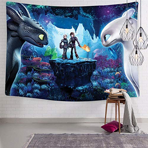 How To - Tra-In Your Dra-Gon How to Train Your Dragon Black an White Dragons Tapestry Wall Hanging Decoration for Apartment Home Art Wall Tapestry for Bedroom Living Room Dorm 51.2 x 59.1 inches