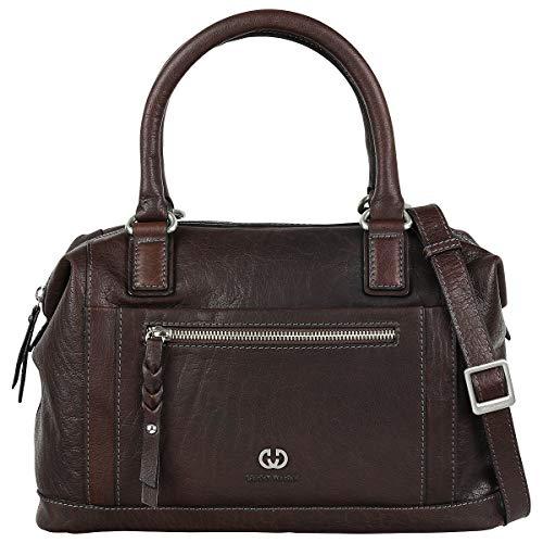 Gerry Weber Parla Handbag Leder Bowlingbag Handtasche Schultertasche Tasche 4080003481, Farbe:Dark Brown
