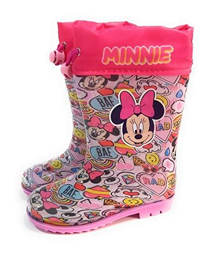 Botas Agua Minnie Mouse para niñas - Botas Agua Disney con Suela Antideslizante y Cuello con Cierre Ajustable (Numeric_27)