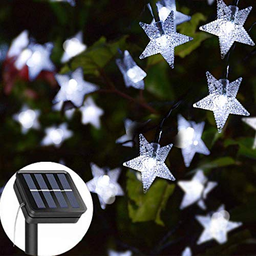 Solar String Lights Garden, 23ft 50 LED Star Fairy Lights Outdoor Solar Powered Led Star String Light Waterproof 8 Modes Decorative Light for Garden Patio Yard Home Wedding Party, Cool White