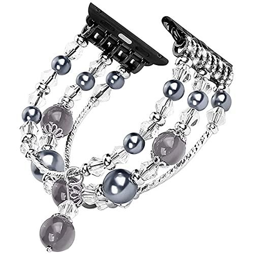 Banda de acero inoxidable con joyería de diamantes para Apple Watch 4 3 cinturón de perlas para mujer para iWatch Bands SE 6 5 38-44mm pulsera