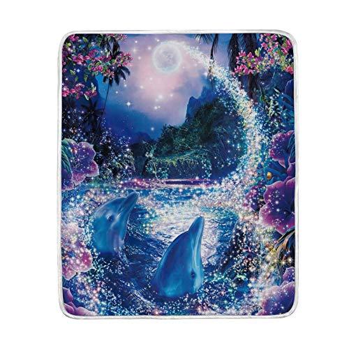 FULUHUAPIN Dolphins Ocean Manta de forro polar para adulto niña niño cálido fácil cuidado lavable a máquina manta suave 132 x 152 cm 2030317
