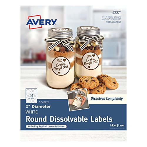 Avery Dissolvable Round Labels 2 Inch with Sure Feed, Pack of 60 (4227)