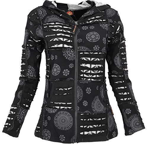 GURU SHOP Goa Patchwork Jacke, Kapuzenjacke, Schwarz, Baumwolle, Size:S (38), Boho Jacken, Westen Alternative Bekleidung