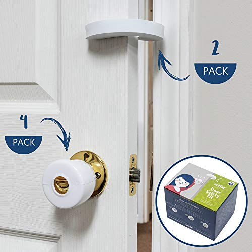Wittle Door Knob Safety Cover - 4pk Plus Finger Pinch Guard - 2pk. Door Safety Kit for Kids, Toddler and Baby. Child Proof Door Lock Keeps Kid Out While U Shape Foam is a Great Door Slam Stopper