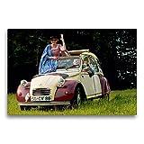 CALVENDO Toile Textile de qualité supérieure de 75 cm x 50 cm, Happy Day | Tableau sur châssis – Impression sur Toile – Citroën 2CV Technology – Technologie