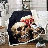 Loussiesd - Manta de forro polar con diseño de calavera para sofá, diseño de calavera y flores, diseño de esqueleto, manta de huesos góticos, 221 x 94 cm, aire acondicionado