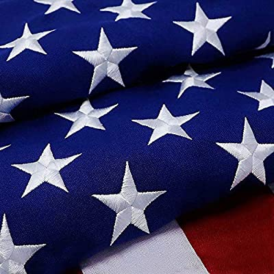 G128 – American Flag   4x6 feet   Heavy Duty Spun Polyester 220GSM – Embroidered Stars, Sewn Stripes, Tough, Durable, Indoor/Outdoor, Vibrant Colors, Brass Grommets, Premium US USA Flag