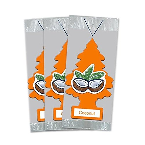 LITTLE TREES Car Air Freshener | Hanging Paper Tree for Home or Car | Coconut | 3 Pack