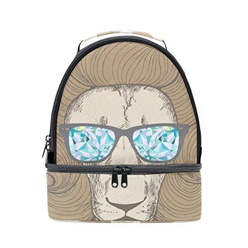 tizorax Chic Haarschnitt mit Brille Löwe Hochformat Lunch Bag Isolierte Lunch Box Picknick Tasche Schule Kühltasche für Männer Frauen Kinder