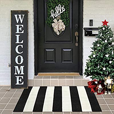LEEVAN Cotton Doormat 2' x 3' Printed Black & White Strip Area Rug Machine Washable Woven Fabric Porch Outdoor Rug Indoor/Outdoor/Shower Bathroom Non-Slip Doormats