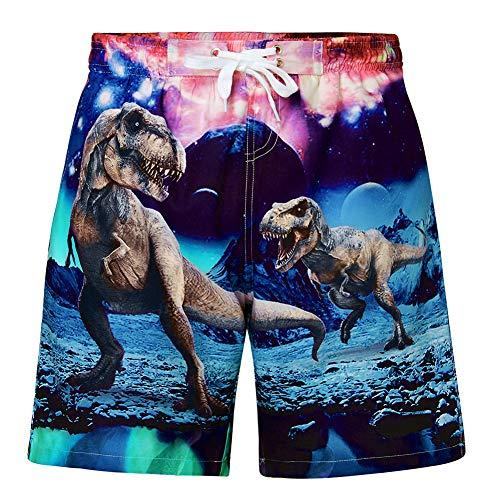 Funnycokid Kinder Bademode Sommer Print Süßes Muster Dinosaurier Elastic Jungen Strand Jogginghose Badeshorts