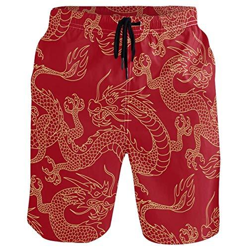 Herren Strand Kurze Badehose Dragon Red Pattern Sportlauf Badeanzüge, Größe M.