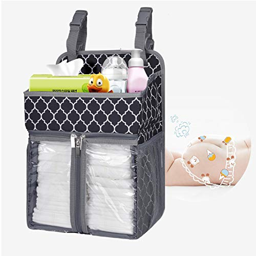 BAGLHER Hanging Diaper Organizer,Baby Diaper Organizer Suitable for Hanging on Diaper Table, Nursery, and All Cribs. Baby Supplies Storage Diaper Rack, Diaper Stacker.