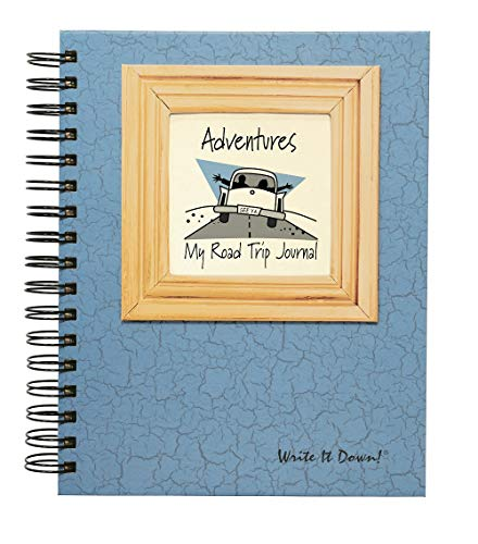 "Journals Unlimited""Write it Down!"" Series Guided Journal, Adventure, My Road Trip Journal, with a Blue Hard Cover, Made of Recycled Materials, 7.5""x 9"""
