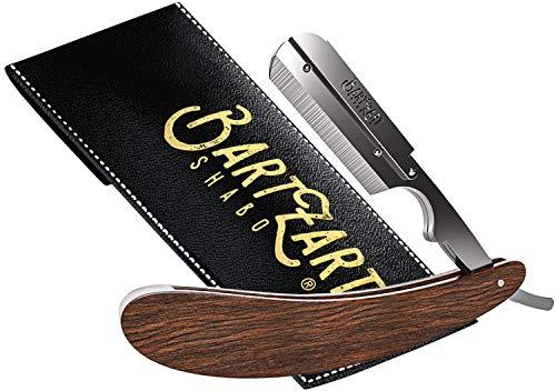 BartZart Shabo Rasiermesser mit Wechselklingen-System I Premium Rasiermesser Set mit Holzgriff inkl. Etui I Rasiermesser Herren I Bart Messer I Barber Tools