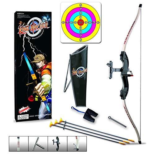 Leic Conjunto de Arco y Flecha emuladores para niños Kit de Juguete Deportivo para Tiro de práctica al Aire Libre para niños