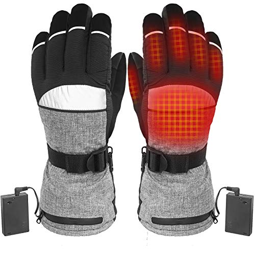 sticro AA Battery Heated Snow Gloves for Men Women, Electric Thermal Heat Hand Warmers for Riding, Motorcycling, Skiing, Hunting (Medium)