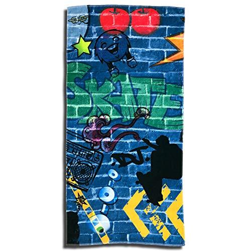 ESPiCO Strandlaken Graffiti Badetuch Skateboard Skater Fantasy Kids Kunst Sprayer 75 cm x 150 cm