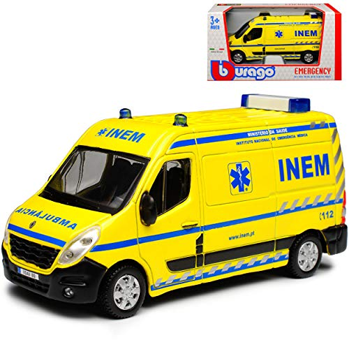 Renault Master III INEM Ambulance Krankenwagen Gelb 3. Generation Ab 2010 1/50 Bburago Modell Auto