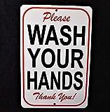 No Branded Letrero de metal WASH YOUR HANDS restaurante tienda de comestibles minorista público baño baño por favor Thank you essential pandemic signage #3
