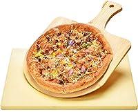 harcas pietra per pizza 38cm x 30cm x 1,5 centimetro e pale per pizza in bamboo. ideale per la cottura e per il servizio, barbecue, griglia, torte, pasticceria e calzoni