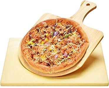 Piedra de Pizza y Espátula de Bamboo Harcas. Los mejores para hornear y servir, barbacoa, parrilla, hornear queques, pasteles y Calzone