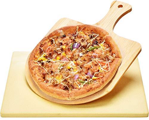 Harcas Pizzastein - 38cm x 30cm x 1,5 Zentimeter und Bambus-Pizzaschaufel. Ideal zum Backen und Servieren, Grillen, für Kuchen, Gebäck und Calzone