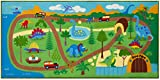 Wildkin Kids Educational Play Rug for Boys and Girls, Features Skid-Proof Backing and Serged Borders, Play Rugs Measures 80 x 39 Inches with Durable Nylon Material, Olive Kids (Dinosaur Land)