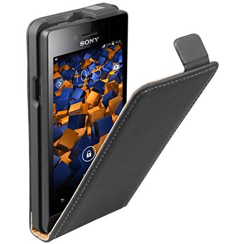 mumbi Tasche Flip Case kompatibel mit Sony Xperia Miro Hülle Handytasche Case Wallet, schwarz