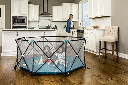 Regalo My Play Deluxe Extra Large Portable Play Yard Indoor and Outdoor, Bonus Kit, Includes Carry Case, Washable, Teal, 8-Panel