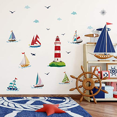 decalmile Pegatinas de Pared Faro Náutico Velero Vinilos Decorativos Náutico Infantiles Adhesivos Pared Habitación Niños Bebés Dormitorio Salón