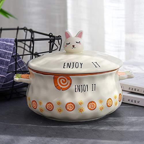 unknow Rettich Instant Nudel Schüssel Keramik Schüssel Schüssel Mit Deckel Griff Instant Nudel Reis Schüssel 14-14.9cm Rübenscheiben