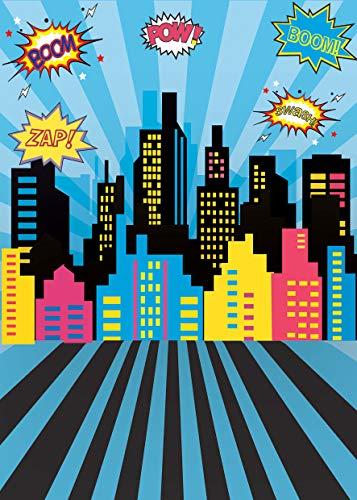 AIIKES 1.5Mx2.1M/5x7FT Bebé Cumpleaños Telón de Fondo de la Fotografía Superhéroe Partido Ciudad Edificios Póster Fondo de la Foto Photocall Estudio Fotográfico 11-401