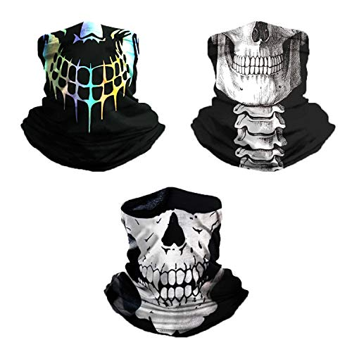 TISSCARE Outdoor Multifunktionstuch Schlauchtuch Sport-Halstuch Bandana Kopftuch, Stirnband,Schnelltrocknend Atmungsaktiv Weich Gesichtsmaske,Unisex (Totenkopf A Set)