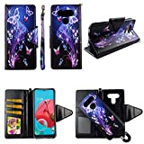 Galaxy Butterfly Case for LG K51 / Q51 [ 2-in-1 Wallet] [ Magnetic Detachable] [Flap Closure] Shock-Proof TPU [2-Way Kickstand] [Card Slots] [Wrist Strap] Pu Leather Folio Phone Cover