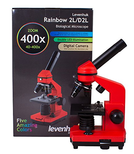 Levenhuk Rainbow 2L Orange Portable Microscope for Children with Experiment Kit, Upper and Lower LED Light for Observing All Kinds of Samples