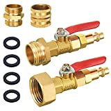 """Tool Daily Winterize Blowout Adapter Kit with 1/4"""" Quick Connect Plug and 3/4"""" Garden Water Hose Threading, 2PCS Winterize Quick Adapter with Ball Valve for RV Boat Camper Trailer"""
