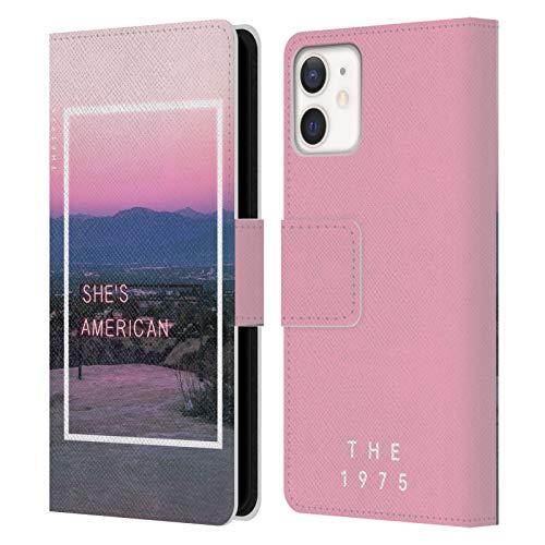 Head Case Designs Licenciado Oficialmente The 1975 Ella es Americana. Canciones Carcasa de Cuero Tipo Libro Compatible con Apple iPhone 12 Mini