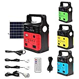 UPEOR Solar Generator Lighting System Portable Solar Power Generator Kit for Emergency Power Supply,Home & Outdoor Camping,Including MP3&FM Radio,Solar Panel,3 Sets LED Lights (Red)