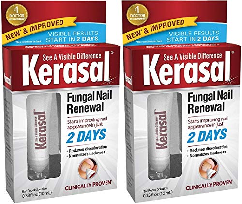 Kerasal Fungal Nail Renewal Treatment, Restores The Healthy Appearance of Nails Discolored or Damaged by Nail Fungus. 2 Packs of 10mL, 20mL in Total. (Packaging May Vary)