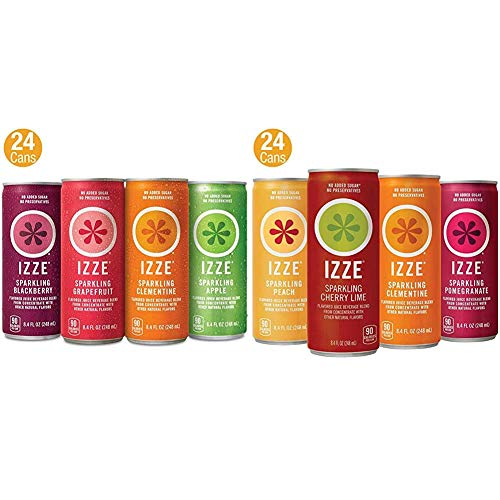 IZZE Sparkling Juice, 4 Flavor Variety Pack, 8.4 Fl Oz (Pack of 24) & IZZE Sparkling Juice, 4 Flavor Sunset Variety Pack, 8.4 Fl Oz (24 Count)